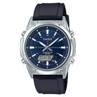 【CASIO】點陣圖太陽能皮帶雙顯錶-藍面 (AMW-S820-2A)