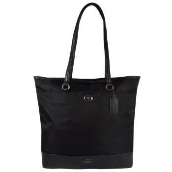 COACH COACH 57903 馬車LOGO尼龍皮革拼接肩背直式購物包.黑