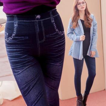 【lingling】全尺碼-鬼爪刷白仿牛仔色微厚棉內搭褲(花邊藍)A1928-01