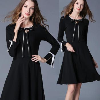 麗質達人中大碼 - IS7344黑色綁帶洋裝 XL-5XL
