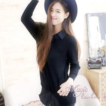 現貨【魔法拉拉】混色針織襯衫假兩件長上衣A439(韓系黑)
