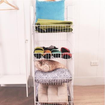 凱堡 收納四層籃車-白 收納置物籃收納車