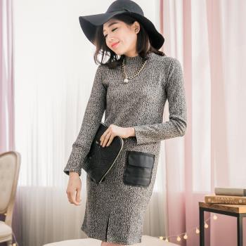 【lingling】小尺碼-素面觸感織紋前開衩撞色皮革口袋洋裝(氣質灰)A2753-02