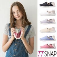TTSNAP懶人鞋-MIT兩穿2WAY帆布真皮休閒鞋 黑/白/灰/米/藍/粉/綠/深藍
