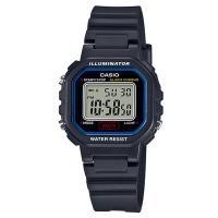 【CASIO】小巧方形復古電子錶-黑X藍框 (LA-20WH-1C)