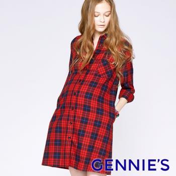 Gennies專櫃-經典格紋優雅哺乳洋裝(T1C11)-紅格