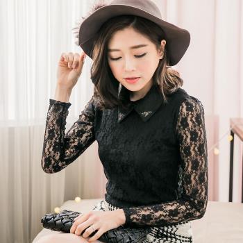 【lingling】小尺碼-紗質襯衫領蕾絲上衣(珠領黑)A2829