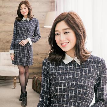 lingling中大尺碼 格紋襯衫領觸感織紋布洋裝(知性藍)A2670