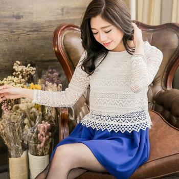 lingling 中大尺碼 蕾絲拼接觸感紋裙層次小洋裝(氣質藍)A2622-01