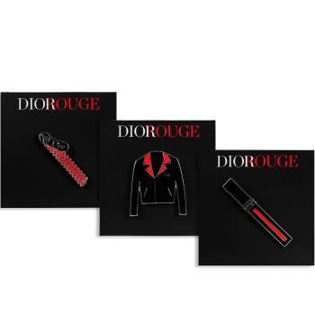Dior 迪奧 DIOROUGE 拉鍊造型別針+外套造型別針+藍星唇萃造型別針