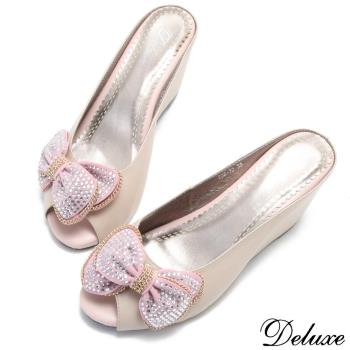 【Deluxe】全真皮甜蜜水鑽蝴蝶結魚口內增高拖鞋(粉)