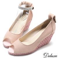 【Deluxe】全真皮甜蜜水鑽繞踝楔型魚口包鞋(粉)-286-26