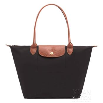 Longchamp 經典長提把防水尼龍 水餃包 肩背包-小 (黑)