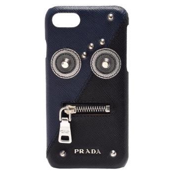 PRADA 經典ROBO系列品牌字母浮雕機器人iPHONE 7手機保護殼(藏藍)