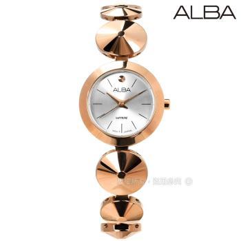 ALBA / VJ21-X107P.AH8366X1 / 璀璨年華藍寶石水晶玻璃晶鑽不鏽鋼手錶 銀x鍍玫瑰金 22mm