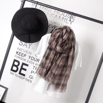 【Moscova】文藝風格紋皺摺棉麻圍巾