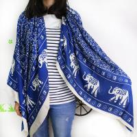 【Lus.G】大象雙面用印棉質圍巾-共2色