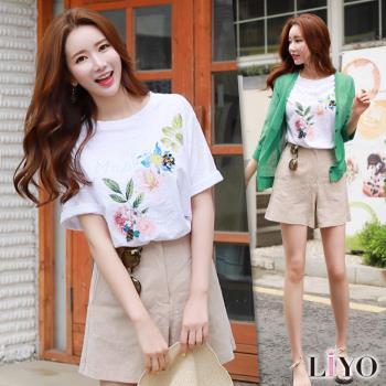 LIYO理優上衣圓領女短袖印花寬鬆T恤E732027