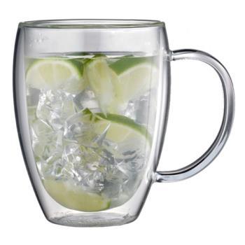 TIAMO 雙層玻璃杯 把手款 360cc 2入-HG2341