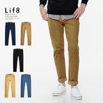 Life8-Casual 就愛經典 舒適彈力斜紋棉修身長褲 NO. 02442