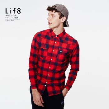 Life8-Casual 法蘭絨 格紋雙口袋 長袖襯衫 NO. 03885