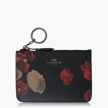 COACH 零錢收納 PVC / 鑰匙圈 / 零錢包(花卉印花) 黑花