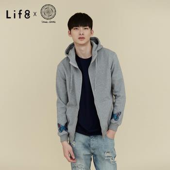 Life8 x Daniel Wong。經典繡花刷毛連帽外套-MIT NO. 03645