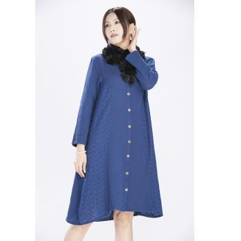 蘭陵空氣感雙層暖棉顯瘦洋裝組
