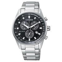 CITIZEN 星辰 Eco-Drive 光動能計時手錶 黑x銀 40mm AT2390-58E