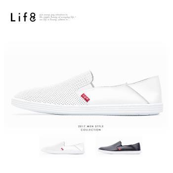 Life8-Casual 2way後踩 頭層牛皮 獨家英倫風 敲洞懶人休閒鞋 NO. 09743