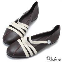 【Deluxe】全真皮森林系晶鑽撞色休閒鞋(咖)-5126-1