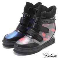 【Deluxe】帥氣時尚鉚釘迷彩厚底內增高休閒鞋(藍☆紅)-691