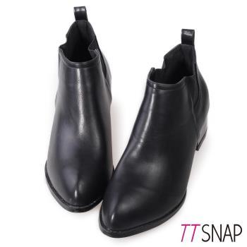 TTSNAP短靴-韓國空運簡約俐落低跟踝靴 黑