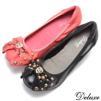【Deluxe】全真皮可愛鉚釘蝴蝶結低跟鞋(黑-紅)-685-1