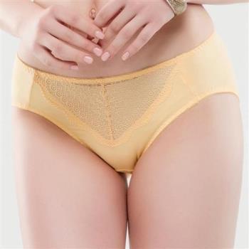 【思薇爾】晴綻系列M-XXL蕾絲中腰三角內褲(霞金色)