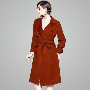 ( RN-girls)-精品風衣款100%羊毛純色腰帶長大衣外套