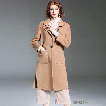 (現貨+預購 RN-girls)-【OL73623】精品帥氣大口袋單扣100%羊毛純色中長大衣外套