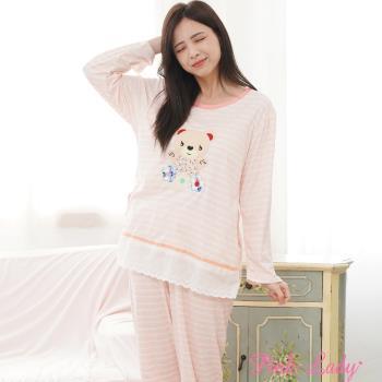 【PINK LADY】開心花熊熊居家棉柔長袖成套睡衣290-3(粉)