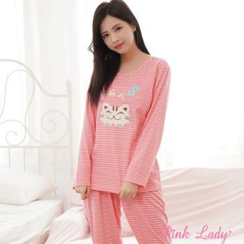 【PINK LADY】微笑貓咪居家棉柔長袖成套睡衣271(瓜紅)