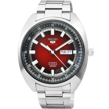 SEIKO 精工5號紳士手自動上鍊機械鋼帶腕錶-酒紅 / SRPB17K1