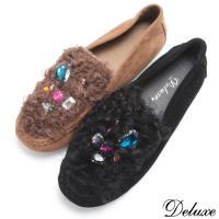 【Deluxe】全真皮暖暖羔羊毛寶石水鑽休閒鞋(黑☆咖)-6628-3
