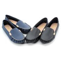 【 101大尺碼女鞋】MIT細菱紋質感金釦豆豆鞋-大尺碼系列-黑色/藍色-0691150615-89