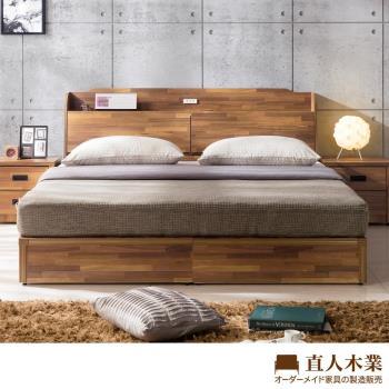 【日本直人木業】STYLE積層木附插座5尺雙人床(床頭加床底兩件組)