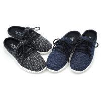【 101大尺碼女鞋】MIT前包後空雙色織紋後空懶人休閒鞋-黑色/藍色-0611160680-18 男女同穿甜蜜蜜