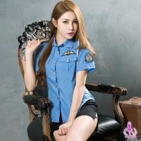 【Ayoka】角色扮演  帥氣藍色女警角色扮演服二件組