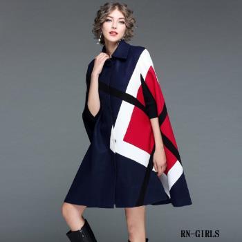RN-girls- 精品精緻羊毛混紡拼色毛呢斗篷外套