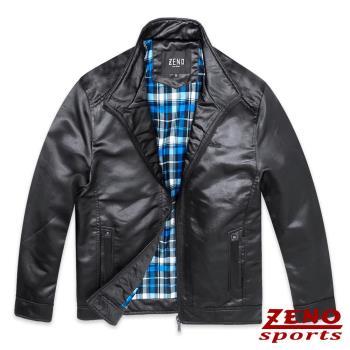 ZENO傑諾 簡約立領仿皮衣夾克外套‧黑色M-XXL