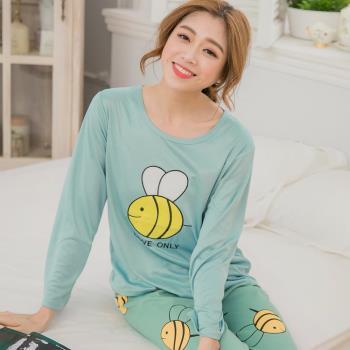 lingling日系 牛奶絲蜜蜂長袖二件式睡衣組(共二色)全尺碼