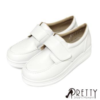 Pretty 寬版沾黏式厚底學生鞋/護士鞋B-26289