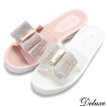 【Deluxe】可愛馬卡龍粉嫩水鑽蝴蝶結厚底拖鞋(粉-白)